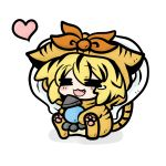 animal_costume blonde_hair chibi costume heart jeweled_pagoda lowres tears tiger_costume tiger_print toramaru_shou touhou yanagi_(artist)