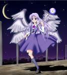 angel blue_eyes blue_hair kneehighs sariel socks staff touhou touhou_(pc-98) wings