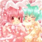 animal_ears blush bunny_ears closed_eyes green_hair maekawa_suu mittens multiple_girls pink_hair rabbit_ears red_eyes short_hair siesta410 siesta45 siesta_sisters smile snow snowflakes twintails umineko_no_naku_koro_ni winter winter_clothes