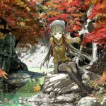 autumn black_legwear blush boots hat jewelry knee_boots leaf leaves legs long_hair maple_leaf nakaba_reimei nature necklace open_mouth original panties river scarf scenery silver_hair sitting sitting_on_rock skirt smile solo stream sweater thigh-highs thighhighs water waterfall zettai_ryouiki