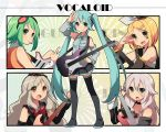 5girls aqua_hair aren_(fubuki-46) blonde_hair boots character_name choker copyright_name detached_sleeves electric_guitar goggles goggles_on_head green_eyes green_hair guitar gumi hair_ornament hairclip hand_on_hip hatsune_miku ia_(vocaloid) instrument kagamine_rin long_hair mayu_(vocaloid) multiple_girls necktie open_mouth pink_hair skirt smile thigh-highs thigh_boots twintails very_long_hair vocaloid