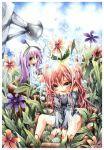 brown_eyes emperpep flower grey_eyes long_hair pink_hair purple_hair traditional_media watercolor_(medium) wet