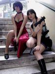 ada_wong black_hair cosplay gun jill_valentine photo resident_evil_3 resident_evil_4 short_hair