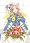 apron dress earrings flower ghibli howl_no_ugoku_shiro jewelry sarachi_yomi short_hair silver_hair smile solo sophie studio_ghibli white_hair window yellow_eyes