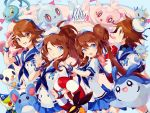 2boys 2girls :o blue_background blue_eyes bow brown_eyes brown_hair carrying double_bun frillish hands_on_another's_shoulders hat horsea innertube kyouhei_(pokemon) long_hair looking_at_viewer luvdisc manaphy mantyke marill mei_(pokemon) mini_hat multiple_boys multiple_girls open_mouth oshawott pleated_skirt pokemon pokemon_(creature) pokemon_(game) pokemon_bw pokemon_bw2 ponytail ribbon sailor sailor_collar sailor_hat short_hair shorts skirt smile snivy tepig touko_(pokemon) touya_(pokemon) turtleneck twintails v welchino wink wristband