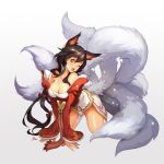 1girl ;d ahri all_fours animal_ears black_hair breasts brown_eyes cleavage fox_ears fox_tail highres league_of_legends multiple_tails nawol open_mouth smile tagme tail wink