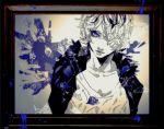 1boy blue_eyes garry_(ib) hair_over_one_eye ib minato.666 picture_frame