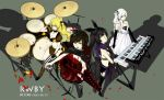 4girls artist_name bass_guitar bat_wings bikini black_feathers black_hair black_legwear blake_belladonna blonde_hair blue_eyes boots bow breasts cape cleavage copyright_name cross dated dress drum drum_set elbow_gloves fingerless_gloves flower gloves guitar hair_bow hat instrument jewelry keyboard_(instrument) long_hair micro_bikini multiple_girls petals ponytail rose rose_petals ruby_rose rwby scarf short_hair striped striped_legwear swimsuit thighhighs ukiing violet_eyes weiss_schnee white_hair wings yang_xiao_long yellow_eyes