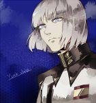 1boy blue_eyes character_name gashima411 gundam gundam_seed gundam_seed_destiny military military_uniform silver_hair solo uniform yzak_joule