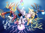 absol alternate_form alternate_hairstyle ampharos aura_sphere blaziken fangs fire hair_over_one_eye highres ho-oh_(artist) lightning lucario mawile mega_absol mega_ampharos mega_blaziken mega_lucario mega_mawile mega_mewtwo_y mega_pokemon mewtwo no_humans pokemon pokemon_(creature) pokemon_(game) pokemon_xy rainbow twister