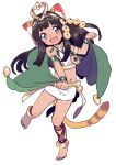 1girl amezawa_koma animal_ears bastet_(p&d) black_hair bracelet cape cat_ears cat_tail fang green_eyes hair_ornament jewelry long_sleeves looking_at_viewer midriff navel necklace open_mouth paw_pose puzzle_&_dragons shirt simple_background skirt smile solo standing_on_one_leg tail white_background