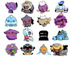 banette chandelure chibi cofagrigus drifblim dusknoir froslass gengar giratina golurk heart highres jellicent mismagius no_humans pokemon pokemon_(creature) rotom sableye shedinja simple_background spiritomb takamura tombstone white_background