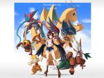1girl black_wings brown_hair character_name copyright_name crossover deoxys dragonite hand_on_hip hat highres honchkrow looking_at_viewer midriff navel ninjask pointy_ears poke_ball pokemon red_eyes scraggy shameimaru_aya shiftry shinebell short_hair shorts smile tokin_hat touhou wings