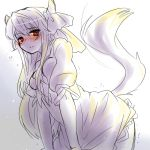 1girl blush ex-keine horns kamishirasawa_keine leaning_forward long_hair looking_at_viewer monochrome red_eyes solo spot_color tail takamura touhou