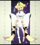 1girl bare_shoulders blonde_hair green_eyes hair_ribbon hat highres jirachi merlusa personification pokemon ribbon sky star_(sky) starry_sky stitched tanabata tanzaku wide_sleeves