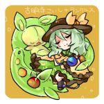 1girl chibi closed_eyes green_hair hat komeiji_koishi lowres pokemon pokemon_(creature) reuniclus short_hair simple_background smile takamura touhou