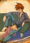 2boys barefoot black_hair brown_hair closed_eyes green_eyes hibaring male multiple_boys ookido_shigeru pokemon pokemon_(anime) satoshi_(pokemon) sleeping sleeping_on_person yaoi