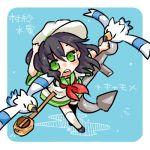 1girl anchor blue_background character_name green_eyes hat lowres murasa_minamitsu open_mouth pokemon pokemon_(creature) simple_background takamura touhou wingull