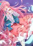 1girl blush bow covering_mouth face_mask fox_mask hair_bow hairband hata_no_kokoro highres long_hair long_sleeves mask pink_eyes pink_hair plaid plaid_shirt shirt skirt solo touhou transistor very_long_hair wide_sleeves