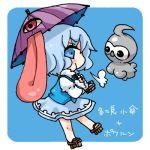 1girl blue_background blue_eyes blue_hair castform lowres pokemon pokemon_(creature) short_hair simple_background takamura tatara_kogasa touhou umbrella