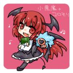 1girl book character_name head_wings koakuma long_hair looking_at_viewer lowres musical_note open_mouth pokemon pokemon_(creature) red_eyes redhead simple_background tail takamura touhou very_long_hair wings woobat