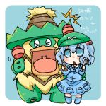 >_< 1girl blue_background blue_eyes blue_hair blush character_name chibi hair_bobbles hair_ornament hat kawashiro_nitori lowres ludicolo pokemon pokemon_(creature) short_hair simple_background takamura touhou wrench