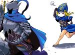 1boy 1girl armor artorias_the_abysswalker barefoot blonde_hair blush boots braid cape dark_souls hat helmet lord's_blade_ciaran mask n-i-n-e running tagme
