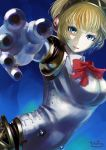 1girl aegis android blonde_hair blue_eyes headphones highres persona persona_3 robot_joints short_hair solo tohogaeru