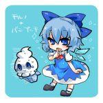1girl blue_background blue_eyes blue_hair bow chibi cirno food fruit hair_bow hat lowres peach pokemon pokemon_(creature) short_hair simple_background takamura touhou vanillite