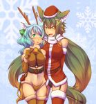 2girls animal_ears aqua_hair bdsm blush breasts brown_hair christmas fang green_eyes hat kuromiya kuromiya_raika long_hair multiple_girls open_mouth pony_girl reindeer_antlers reindeer_costume reins riding_crop saddle santa_costume shiromiya_asuka smile thigh_boots thighhighs