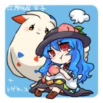 1girl blue_background blue_hair blush chibi food fruit hat hinanawi_tenshi long_hair lowres peach pokemon pokemon_(creature) red_eyes simple_background takamura tears togekiss touhou