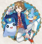 1boy akira_hou ascot brown_eyes brown_hair mantyke mudkip pokemon pokemon_(creature) telescope touya_(pokemon) wink