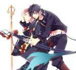 2boys ao_no_exorcist black_hair katana multiple_boys okumura_rin redhead robe sara666 shakujou sheath sheathed shima_renzou staff sword tail weapon