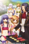 1boy 4girls alcohol barbecue beatrice beer bikini black_hair blonde_hair blue_eyes blue_hair bow cat_tail closed_eyes coat corn cravat eating facial_hair fish flower food frederica_bernkastel grin hair_bow hair_bun hair_flower hair_ornament izumi_natsuka lambdadelta meat monocle multiple_girls mustache red_eyes ronove silver_hair smile swimsuit tail tongs umineko_no_naku_koro_ni violet_eyes virgilia