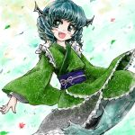 1girl blue_hair blush fang head_fins japanese_clothes long_sleeves mermaid monster_girl nanashii_(soregasisan) obi open_mouth short_hair solo touhou wakasagihime