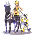 1girl bare_shoulders blonde_hair blue_eyes breasts choker cleavage emolga headphones high_heels joey_joey_joey kamitsure_(pokemon) navel pantyhose poke_ball pokemon pokemon_(game) pokemon_bw short_hair zebstrika