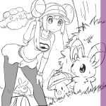 1girl black_legwear cottonee double_bun foongus grass hand_in_hair hand_on_knee legs long_hair mei_(pokemon) minccino monochrome pantyhose poke_ball_print pokemoa pokemon pokemon_(creature) pokemon_(game) pokemon_bw2 sketch skirt swadloon sweatdrop tree twintails visor_cap watch