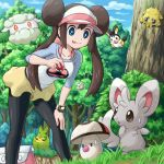1girl :d bag black_eyes black_legwear blue_eyes breasts brown_hair cottonee double_bun emolga foongus grass hand_on_knee joltik licking_lips long_hair mei_(pokemon) minccino open_mouth orange_eyes pantyhose poke_ball poke_ball_print pokemoa pokemon pokemon_(creature) pokemon_(game) pokemon_bw2 skirt smile solosis swadloon sweatdrop tree twintails visor_cap watch