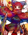1girl bird blush bottom bow cape crane_(animal) cutter giraffe hair_bow llama long_sleeves ostrich red_eyes redhead ringetsumon scissors sekibanki shingeki_no_kyojin short_hair silhouette skirt solo star star-shaped_pupils swan symbol-shaped_pupils three-dimensional_maneuver_gear touhou turtle