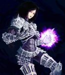 armor artist_request bodysuit breasts dark_background dark_souls darkwraith_(dark_souls) highres large_breasts lipstick long_hair makeup muscle power purple_hair red_eyes skin_tight slit_pupils