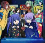 1boy 6+girls alternate_hairstyle bakemata blonde_hair blue_eyes blue_hair bow brown_hair candy_apple crown dress festival fish furude_rika goldfish green_eyes green_hair hair_bow hanyuu hat higurashi_no_naku_koro_ni horns houjou_satoko japanese_clothes kimono maebara_keiichi multiple_girls open_mouth orange_hair pointing ponytail purple_hair ryuuguu_rena shannon smile sonozaki_mion sonozaki_shion twintails umineko_no_naku_koro_ni ushiromiya_jessica ushiromiya_maria violet_eyes yukata