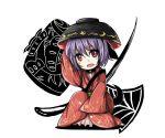 1girl bowl mallet needle open_mouth purple_hair red_eyes satorichan short_hair sukuna_shinmyoumaru touhou