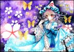1girl breasts butterfly dress fan flower hat japanese_clothes long_sleeves looking_at_viewer mob_cap mosho obi pink_hair red_eyes ribbon saigyouji_yuyuko short_hair smile touhou traditional_media triangular_headpiece watercolor_(medium) wide_sleeves