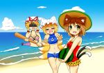 3girls =_= absurdres alternate_costume anger_vein animal_ears baseball_bat beach bikini blue_sky blush bow breasts brown_hair cat_ears cat_tail chen cleavage clouds drooling food fox_tail frilled_swimsuit frills fruit gap hair_bow hat hat_ribbon hat_with_ears highres looking_at_another looking_away mob_cap multiple_girls multiple_tails navel ocean one-piece_swimsuit open_mouth payot rapisumeron ribbon shaded_face short_hair sky sports_bikini straw_hat swimsuit tail touhou watermelon yakumo_ran yakumo_yukari yellow_eyes yin_yang