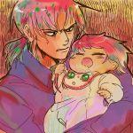 1boy 1girl baby bib diavolo father_and_daughter jojo_no_kimyou_na_bouken king_crimson_(stand) mkimki33 pink_hair ponytail short_hair spice_girl_(stand) trish_una