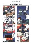 3girls 4koma ahoge alternate_costume apron beanie black_hair blue_eyes bowl chopsticks comic commentary_request earmuffs food food_stand hair_flaps hat headgear highres holding holding_chopsticks kantai_collection long_sleeves multiple_4koma multiple_girls noodles outdoors pale_skin ramen remodel_(kantai_collection) scarf seiran_(mousouchiku) shigure_(kantai_collection) shinkaisei-kan short_hair sitting tentacle translation_request wo-class_aircraft_carrier yamashiro_(kantai_collection) yatai