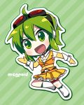 1girl :d ahoge caffein character_name chibi goggles goggles_on_head green_eyes green_hair gumi headphones headphones_around_neck navel open_mouth short_hair skirt smile solo vocaloid wrist_cuffs