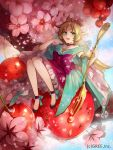 1girl blonde_hair copyright_request food fork fruit green_eyes hair_ornament kyouka_hatori long_hair open_mouth pointy_ears sitting solo