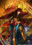 1boy copyright_request fan folding_fan halo japanese_clothes kyouka_hatori long_hair red_eyes redhead solo
