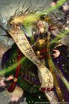 1boy brush copyright_request dragon hat kyouka_hatori long_hair petals smile tree yellow_eyes